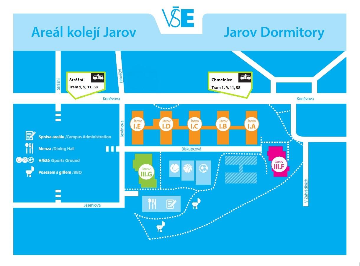 Plánek areál Jarov